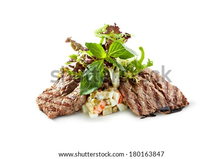 Salad with Grilled Beef and Vegetables - stock photo