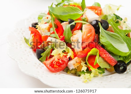 salad with grilled chicken - stock photo