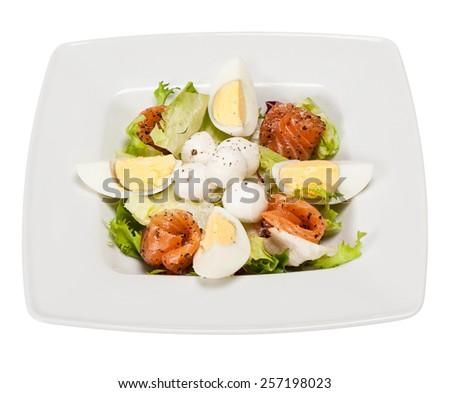 salad with lettuce, marinated salmon, mozzarella balls, egg, olive oil - stock photo