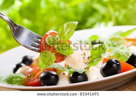salad with mozzarella and tomatoes - stock photo