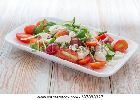 salad with mozzarella, tomato, basil  - stock photo