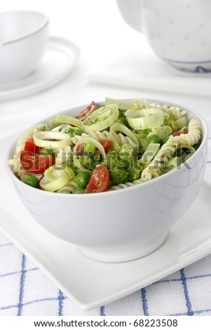 Salad with pasta and vegetables - stock photo