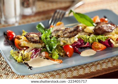 Salad with Pickled Beef, Potato, Mushrooms, Cherry Tomato and Meat Sauce - stock photo