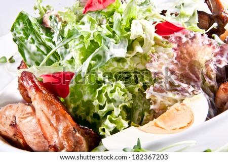 Salad with quail - stock photo