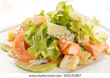 salad with salmon - stock photo
