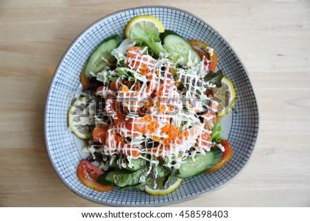 salad with salmon japanese food - stock photo