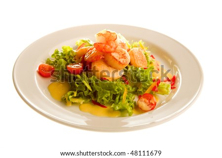 salad with shrimp isolated on the white - stock photo