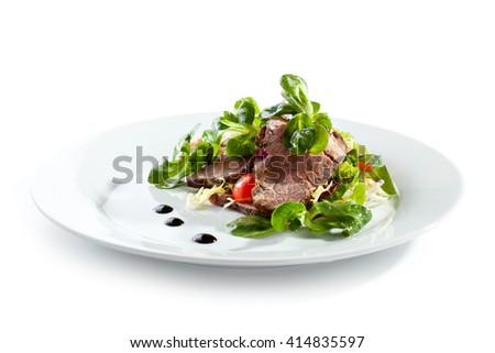 Salad with Sliced Beef and Cherry Tomato - stock photo