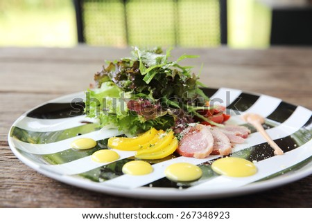 salad with smoked duck breast - stock photo