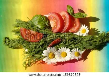salad with tomatoes, dill, chili and basil - stock photo