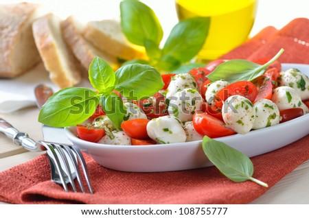 Salad with tomatoes, mozzarella and basil, served with Italian ciabatta bread - stock photo