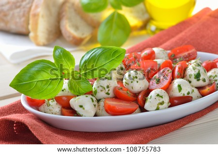Salad with tomatoes, mozzarella and basil, served with Italian ciabatta bread - stock photo