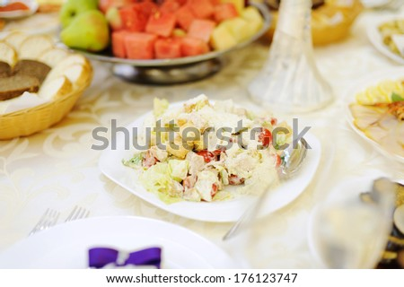 salad with vegetables and chicken in sauce - stock photo
