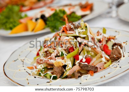 salad with vegetables and meat - stock photo