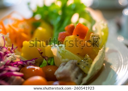Salads, fruits and vegetables Healthy Food - stock photo