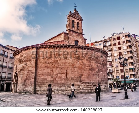 SALAMANCA, SPAIN - DECEMBER 5: Medieval San Marcos church on December 5, 2012 in Salamanca, Spain. Romanesque style from Xi or XII century. Round floor of 22 meters diameter. - stock photo