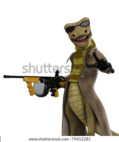 salamander the gangster  got a gun - stock photo
