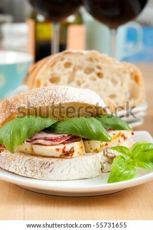 Salami and Mozzarella Italian Sandwich - stock photo