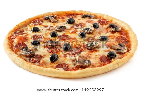 salami and mushrooms pizza with ingredients - stock photo