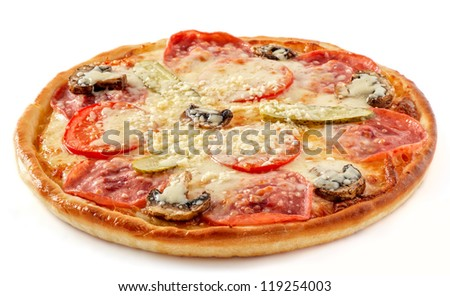 Salami and mushrooms pizza with pickles - stock photo