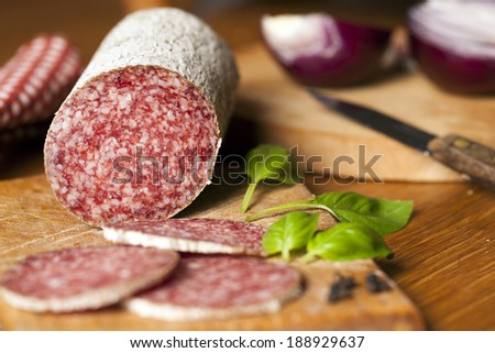 Salami and vegetables - stock photo