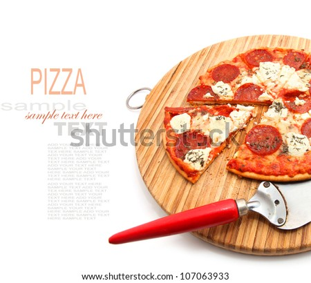 Salami Pizza on the Chopping Board isolated on white - stock photo