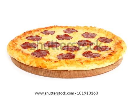 Salami pizza on white background - stock photo