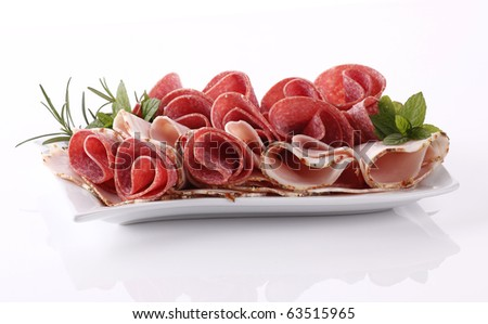 Salami with ham - stock photo