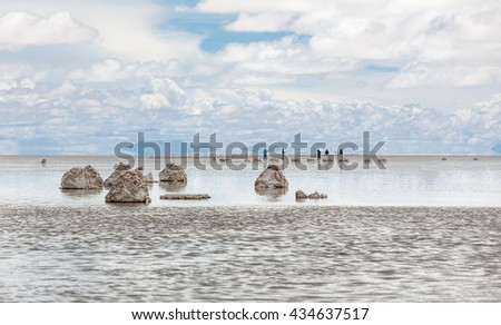 Salar de Uyuni is largest salt flat in the World (UNESCO World Heritage Site) - Altiplano, Bolivia, South America. - stock photo