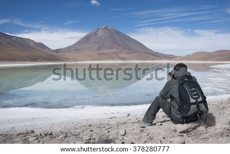 Salar de Uyuni, Laguna Verde, Green Lagoon, Bolivia. - stock photo