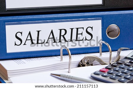 Salaries - blue binder in the office - stock photo