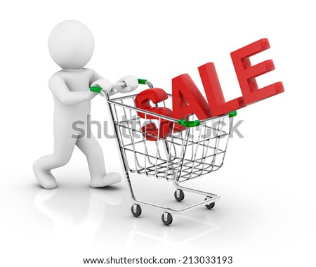 sale and cart 3d - stock photo