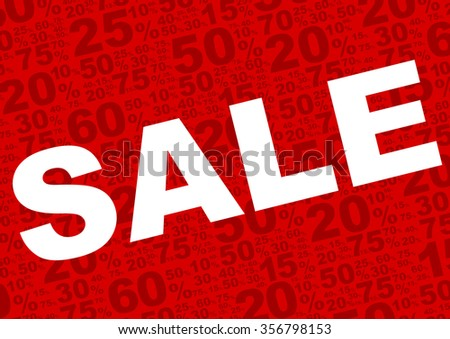 Sale Background - Sale Sign With Various Percentage Signs on Red Background - stock photo
