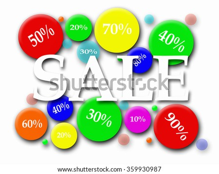 Sale background with colorful circles and the percentage reduction in them - stock photo