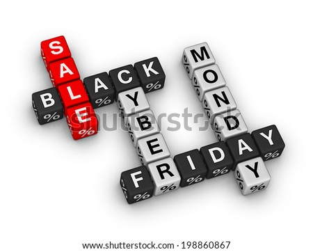 sale black friday and cyber monday - stock photo
