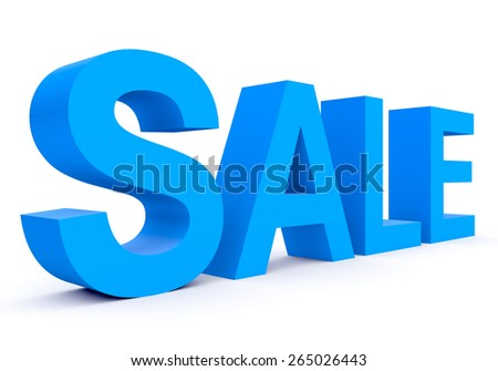 SALE - blue 3d letters isolated on white, side view - stock photo