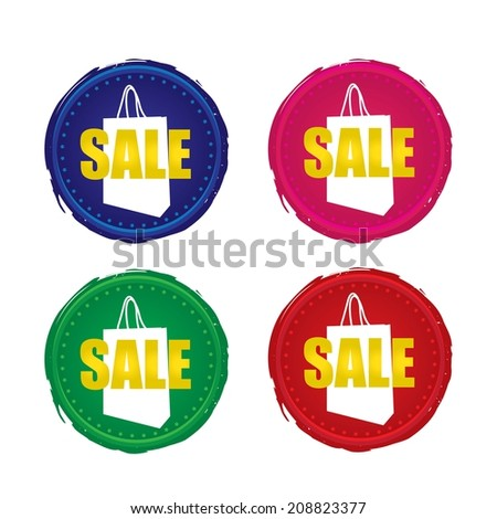 Sale colourful labels, stickers, tags and icons with shopping bag. - stock photo