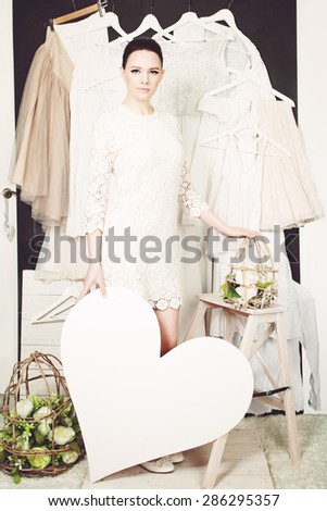 Sale Concept. Beautiful Woman Shopping. Girl Likes Sale - stock photo