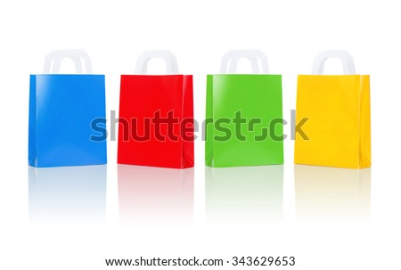 sale, consumerism, advertisement and retail concept - many blank colorful shopping bags - stock photo