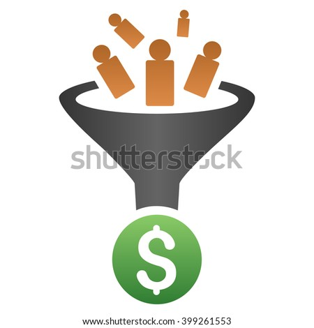 Sale Conversion Funnel glyph toolbar icon for software design. Style is a gradient icon symbol on a white background. - stock photo