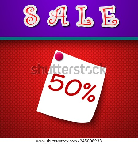 Sale. Discount 50 percent. Sign.  illustration - stock photo