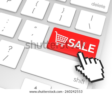 Sale enter key with hand cursor. 3D rendering - stock photo