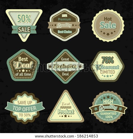 Sale labels and badges design set for best price high quality and exclusive deal isolated  illustration - stock photo