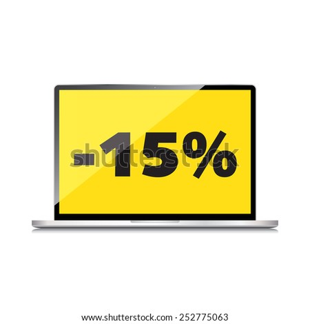 Sale, markdown, discount 15 percent on High-quality laptop screen. Reduced Prices. Special offer. Shopping badge with percentage discount. - stock photo