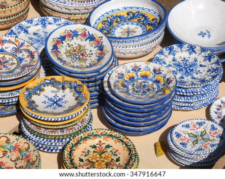 Sale of ceramic, typical of Morocco and Spain - stock photo