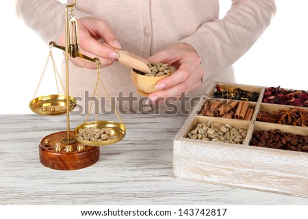 Sale of coffee and different spices - stock photo