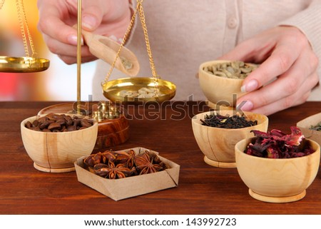 Sale of tea,coffee and different spices - stock photo