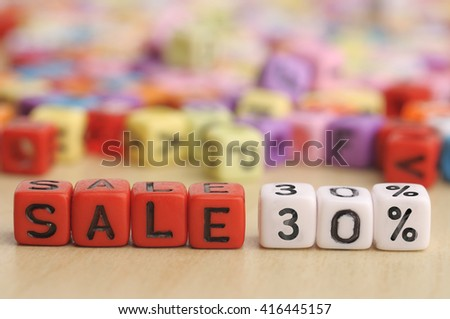 SALE 30% on Colorful Dices - stock photo