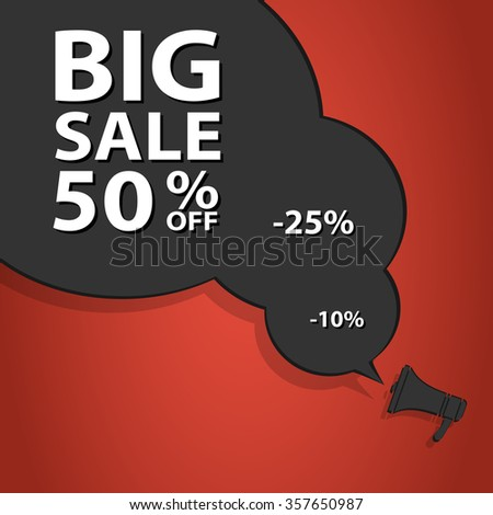 Sale poster speech bubble with percent discount. Christmas sales. Holiday sales. Graphic illustration  - stock photo