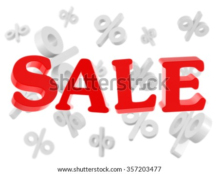 Sale red text on white background. Focus on sale - stock photo